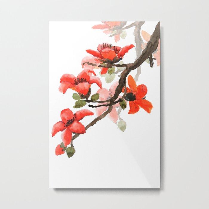 red orange kapok flowers watercolor Metal Print
