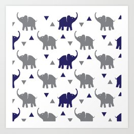 Elephants & Triangles - Gray / Navy Blue Art Print