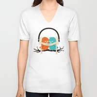 birds V-neck T-shirts featuring Baby It's Cold Outside by Picomodi