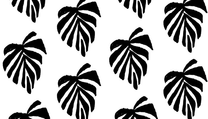 Monstera Leaf Pattern Black And White Linocut Minimal Tropical Mesmerizing Tropical Leaves Pattern