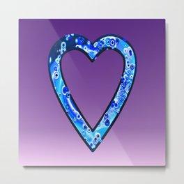 Heart in Sky Blue Metal Print