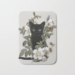 Cat With Flowers Bath Mat