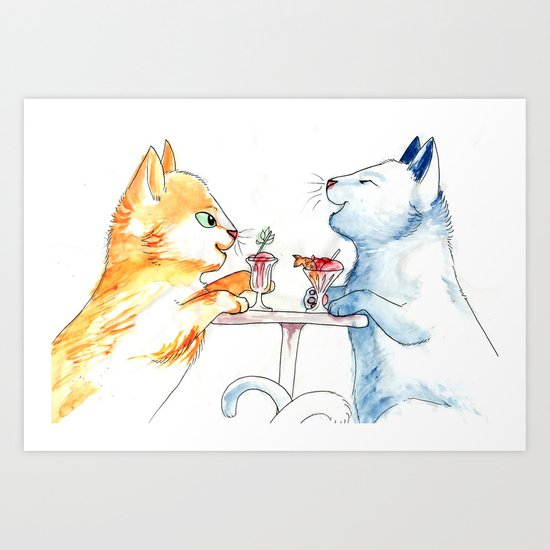 Cat Sundae Art Print