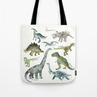 dinosaurs Tote Bags featuring Dinosaurs by Amy Hamilton