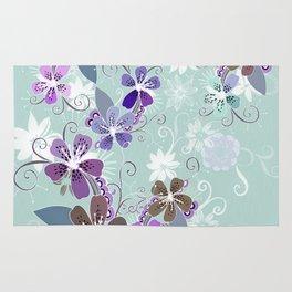 Summer blossom, blue and purple Rug