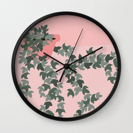 Pink potted ivy Wall Clock