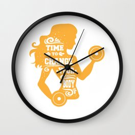 Time to Change Your Body Fitness Workout Wall Clock