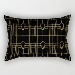Parisienne Elegant Gold and Black Art Deco Pattern Rectangular Pillow