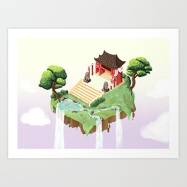 Temple in the sky Art Print