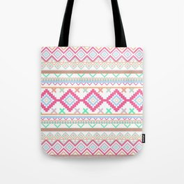 Pink teal Aztec Tribal Diamond geometric Pattern Tote Bag