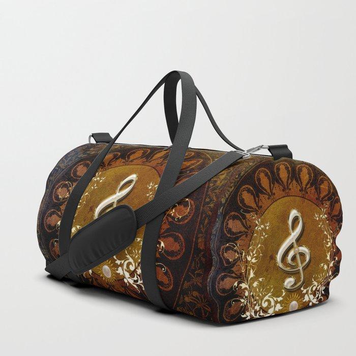 Music, wonderful decorative clef Duffle Bag