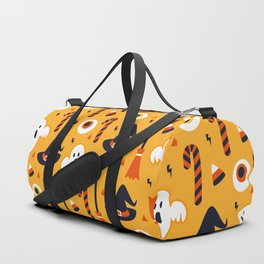 Happy halloween ghosts, brooms, eyeballs and witch hats pattern Duffle Bag