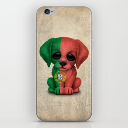 Cute Puppy Dog with flag of Portugal iPhone Skin