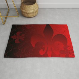 Fleur De Lis Red Holiday Pattern Rug