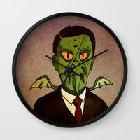 lovecraft Wall Clocks featuring Prophets of Fiction - H.P. Lovecraft /Cthulhu by niles yosira