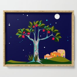 A Traditional Pomegranate Tree in Israel at Nigh Serving Tray