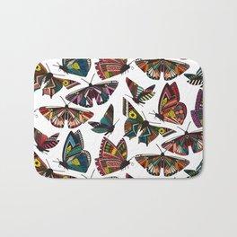 summer butterflies multi white Bath Mat