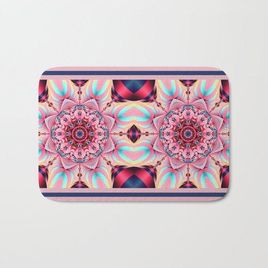 Blooming in Pink, floral kaleidoscope design Bath Mat