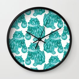 Chinese Guardian Lion Statues in Emerald Jade Wall Clock