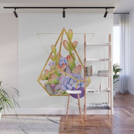 Succulent Geometry gold wire geometric frames Wall Mural