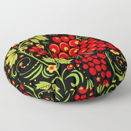 Red berry ornament khokhloma Floor Pillow
