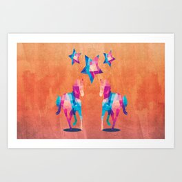 Geometric Horses - Peach Art Print