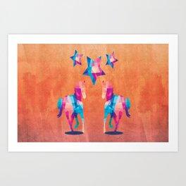 Geometric Horses - Peach Art Print