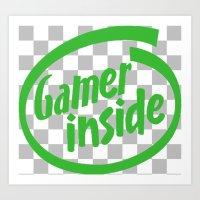 inside gaming Art Prints featuring Gamer iNSIDE by Blondie & Black Boy