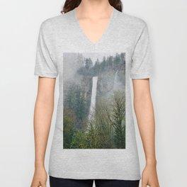 Misty Multnomah Falls, Oregon Unisex V-Neck