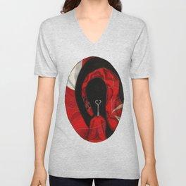 Oval Rose Poppy  Unisex V-Neck