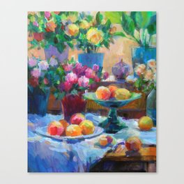 Still Life with Flowers and Fruits Canvas Print