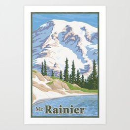 Vintage Mount Rainier Travel Poster Art Print