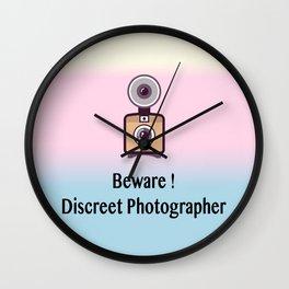 Beware, discreet photographer Wall Clock