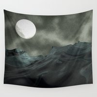noir Wall Tapestries featuring Ocean Noir by Rabassa