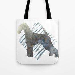 Modern Airedale Terrier Dog Watercolor Stripes Tote Bag