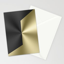 Black and gold geometric design faux metallic look Stationery Cards