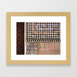 Details in The Alhambra Palace. Gold courtyard Framed Art Print
