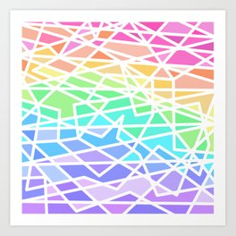 Bright Rainbow Colors Geometric Art Print