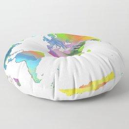 World Map - Watercolor Floor Pillow