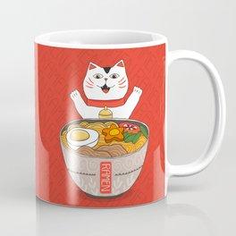 Liter of Ramen. Japanese soup and Manekineko cat. Coffee Mug
