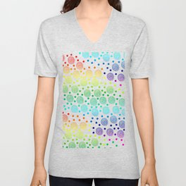 Rainbow Circles in Circles and Dots Unisex V-Neck
