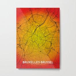 Bruxelles Brussels map Metal Print
