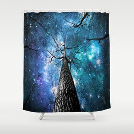 Wintry Trees Galaxy Skies Teal Blue Violet Shower Curtain