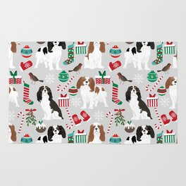Cavalier King Charles Spaniel christmas pattern gift for dog lover pet friendly pet portrait Rug