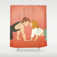 dirty dancing Shower Curtains featuring Dirty Dancing (80's Minimalism Series) by Trevor Downs
