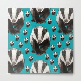 Badger Pattern on Teal / Turquise Metal Print