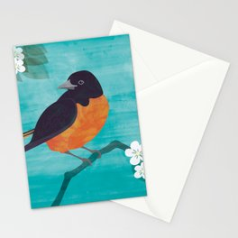 Oriole Bird on Teal Stationery Cards