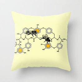 Bees making honey on macromolecular structure as a bee house  Throw Pillow