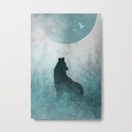 Howling Wolf: Space Silhouette Metal Print
