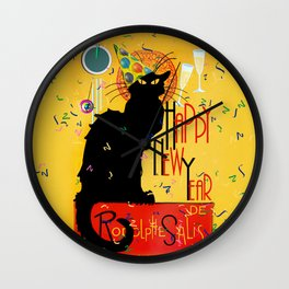 Chat Noir New Years Party Countdown Wall Clock